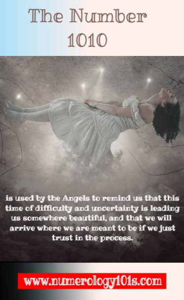 The Meaning of Angel Number 1010 in words and an evocative image.