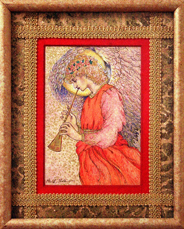 Angel Playing a Flageolet (drawing after Sir Edward Burne-Jones) and Pre-Raphaelite Angels: #Flickr12Days(poem)