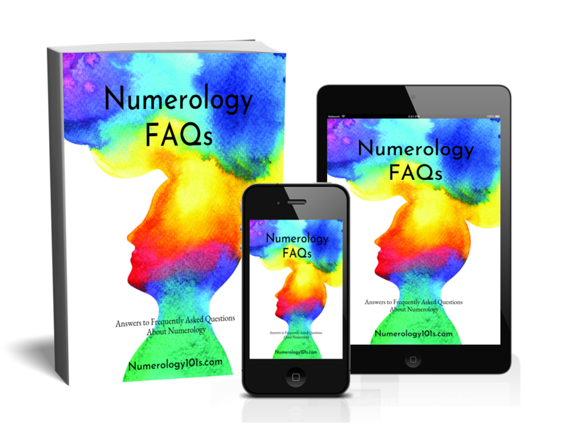 Image is 3D cover showing the Numerology FAQ pdf Version.