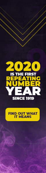 "Image text: ""2020 is the first repeating numbers year since 1919. What does it mean? Free Repeating Numbers eBook""."